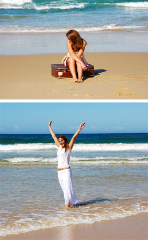 photos of Sad and happy Beach Girl representing how individual psychotherapy can help