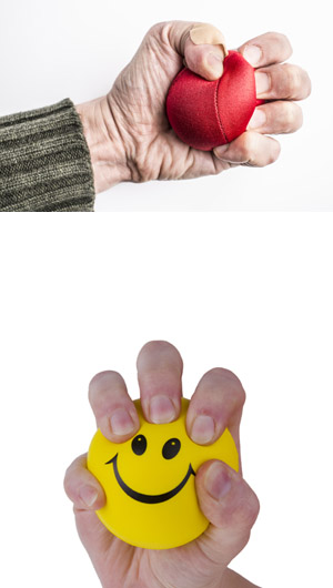 photos of red stress ball being squeezed tightly and ball with happy face representing the benefits of individual psychotherapy