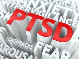 Brainspotting treatment for ptsd and trauma graphic of red ptsd with some symptoms in text